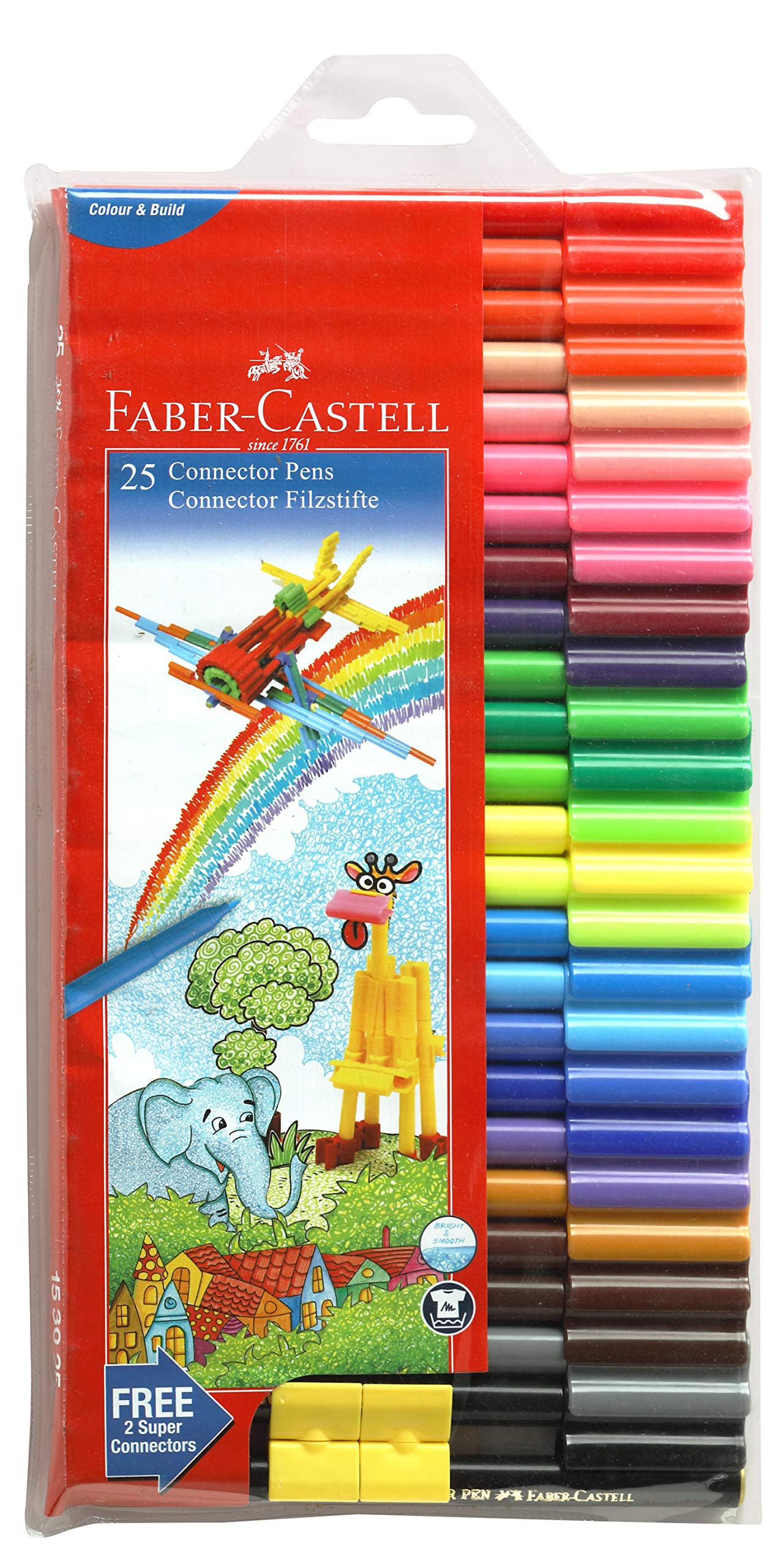 Faber-Castell Connector assorted Pen Set  Pack of 50 Assorted pen