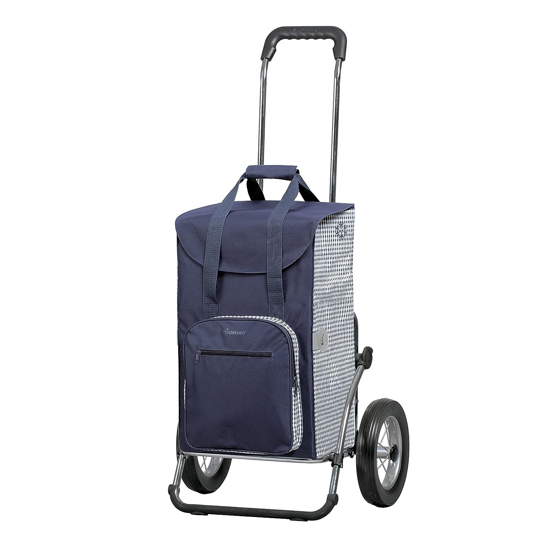 Sondermodell Andersen Einkaufstrolley Royal Dante & Einkaufstasche blau/weiß mit Kühlfach   Einkaufswagen mit großen Rädern   Trolley Gestell Aluminium klappbar ANDERSEN-SHOPPER