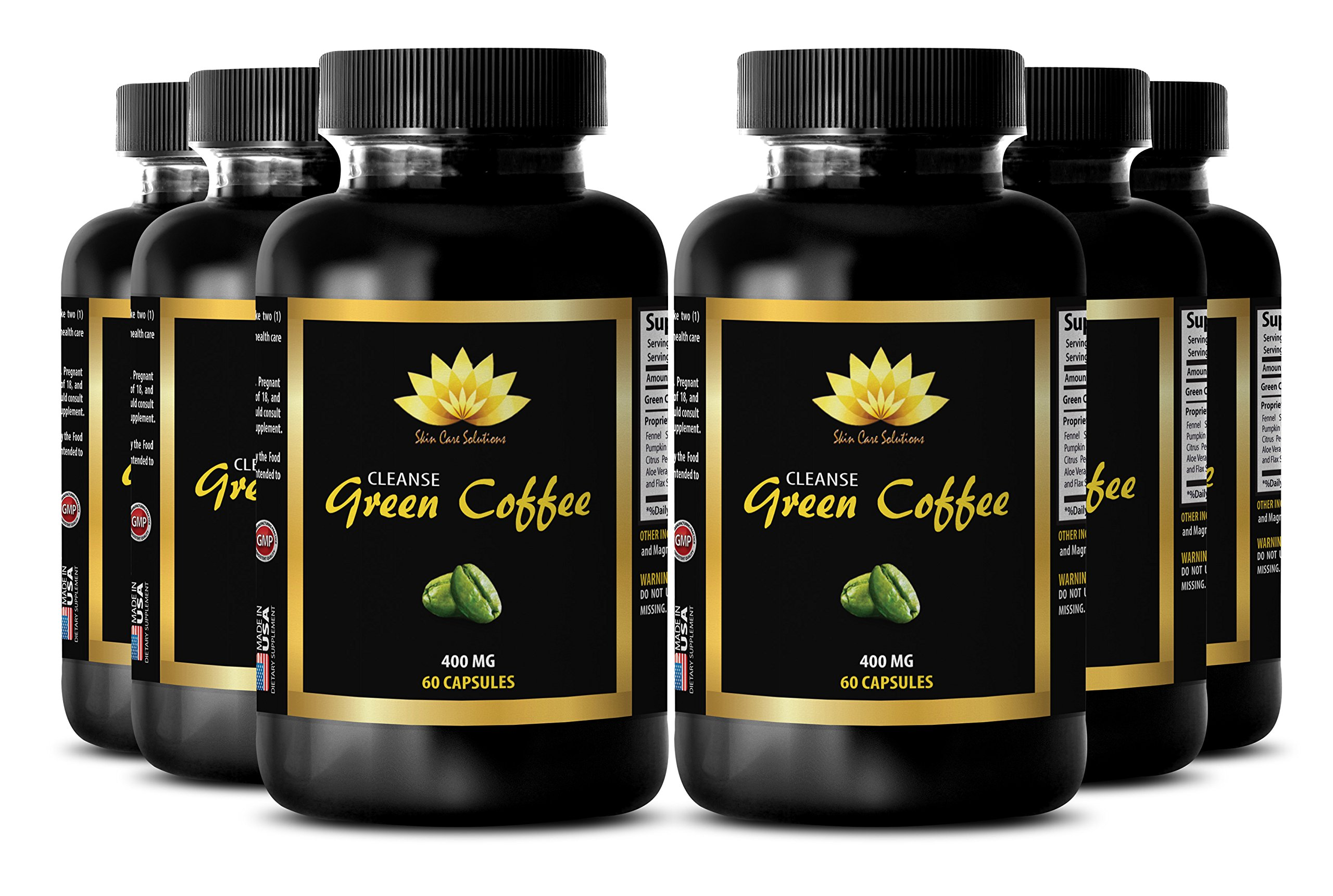Fat burner for women - NATURAL GREEN COFFEE BEAN EXTRACT CLEANSE 400 mg - Aloe vera capsules - 6 Bottle 360 Capsules
