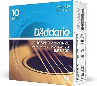 D'Addario EJ16-10P Phosphor Bronze Acoustic Guitar Strings, Light, 10 Sets