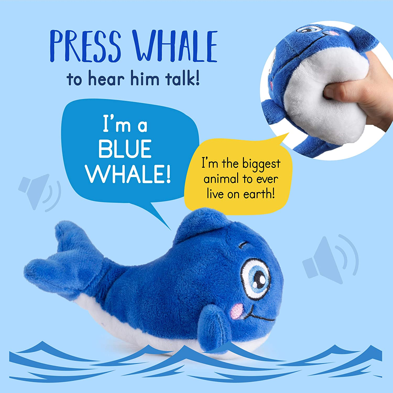 Sea Animals Talking Blue Whale Stuffed Animal Plush Talking Blue Whale Interactive and Educational 4 Blue Whale Plush Toy Gifts for Kids