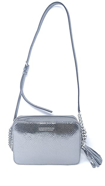 04c69020dee6 Image Unavailable. Image not available for. Color  Michael Kors Ginny  Medium Camera Bag Embossed Leather Light Pewter