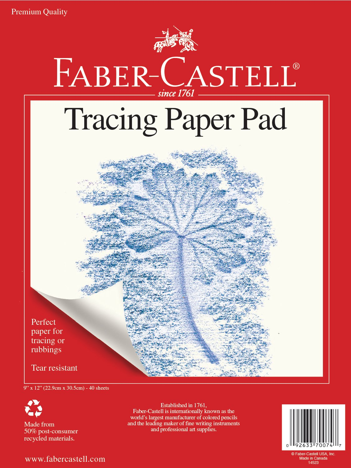 Faber-Castell Construction Paper Pad Multi-Colored Craft Paper 60 Sheets 9 x 12