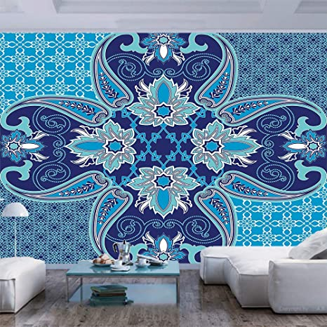Amazon Com 77x55 Inches Wall Mural Middle Eastern Oriental Persian Pattern With Arabesque Moroccan Effects Design Peel And Stick Self Adhesive Wallpaper Removable Large Wall Sticker Wall Decor For Home Office Home Kitchen