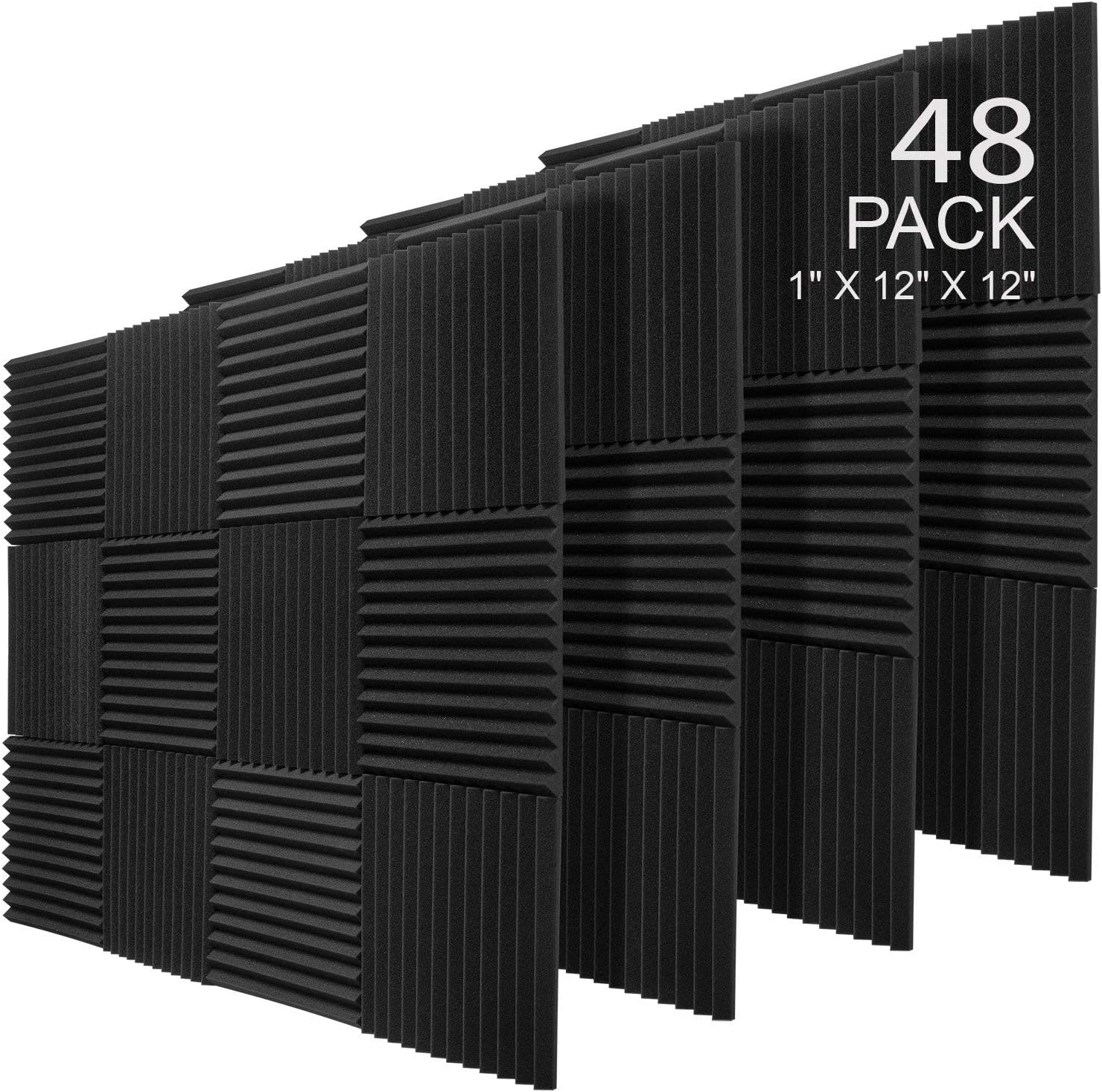 JBER 48 Pack Charcoal Acoustic Panels Studio Foam Wedges Fireproof Soundproof Padding Wall Panels 1