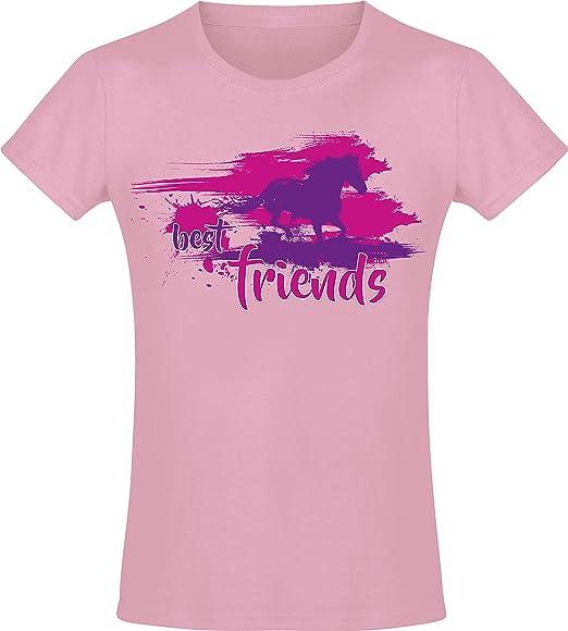Camiseta: Best Friends - Mejores Amigos - Niña - Caballo Jaca - Poney Poni Pony - Rosa Pink - Regalo de cumpleaños - Amiga - Cabalgar - T-Shirt - ...