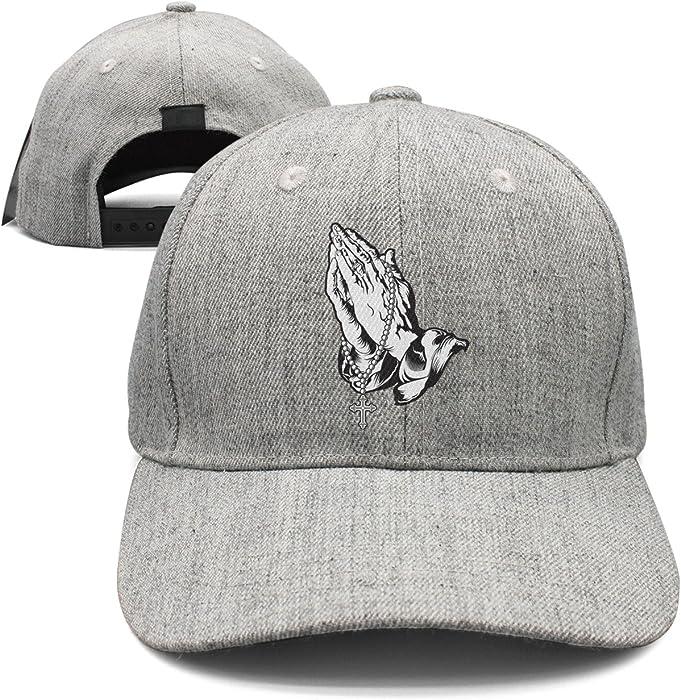 8731f98a1c10d Praying Hands with Rosary Jesus Prayer Woolen Peak Cap Snapback Hat Vintage  Snapbacks Grey