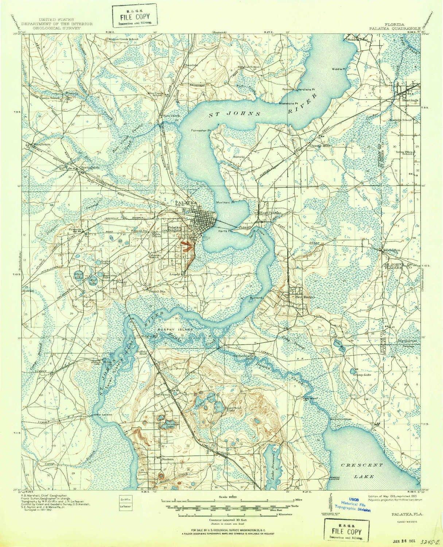 Topo Map Florida.Amazon Com Yellowmaps Palatka Fl Topo Map 1 62500 Scale 15 X 15