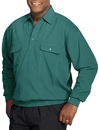 7f3b1a28ff4 Harbor Bay by DXL Big and Tall Long-Sleeve Mesh Panel Banded-Bottom Shirt  at Amazon Men s Clothing store