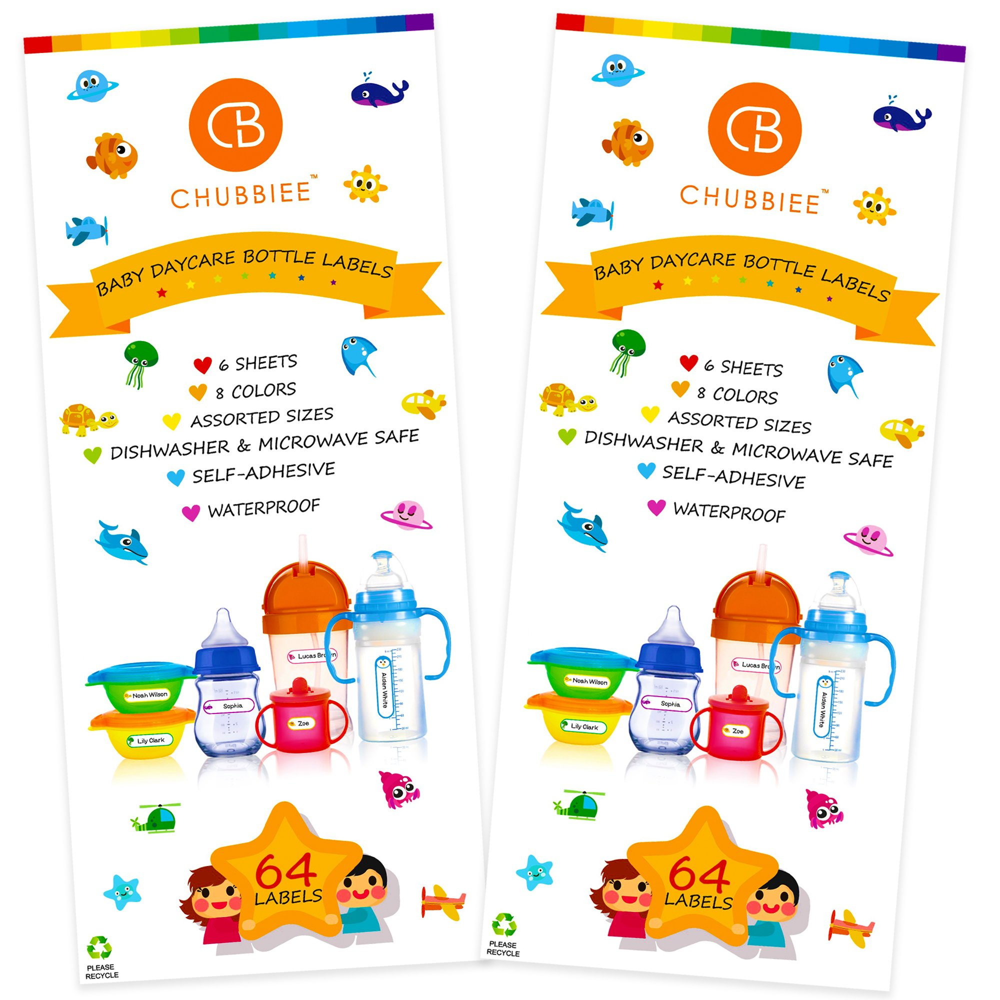 Baby Bottle Labels for Daycare, Self-Laminating, Waterproof Write-On Name Labels, Assorted Sizes & Colors, Pack of 128 by CHUBBIEE
