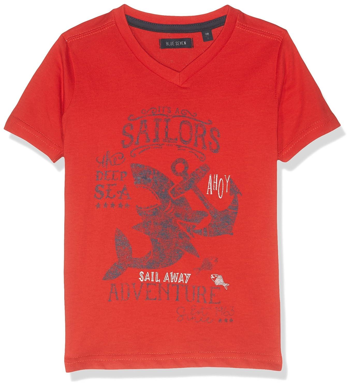Blue Seven Kl KN V-Ausschnitt, T-Shirt Bambino Blue Seven kl KN T-Shirt Rosso (Rot Orig 326) 110 cm 802040 X