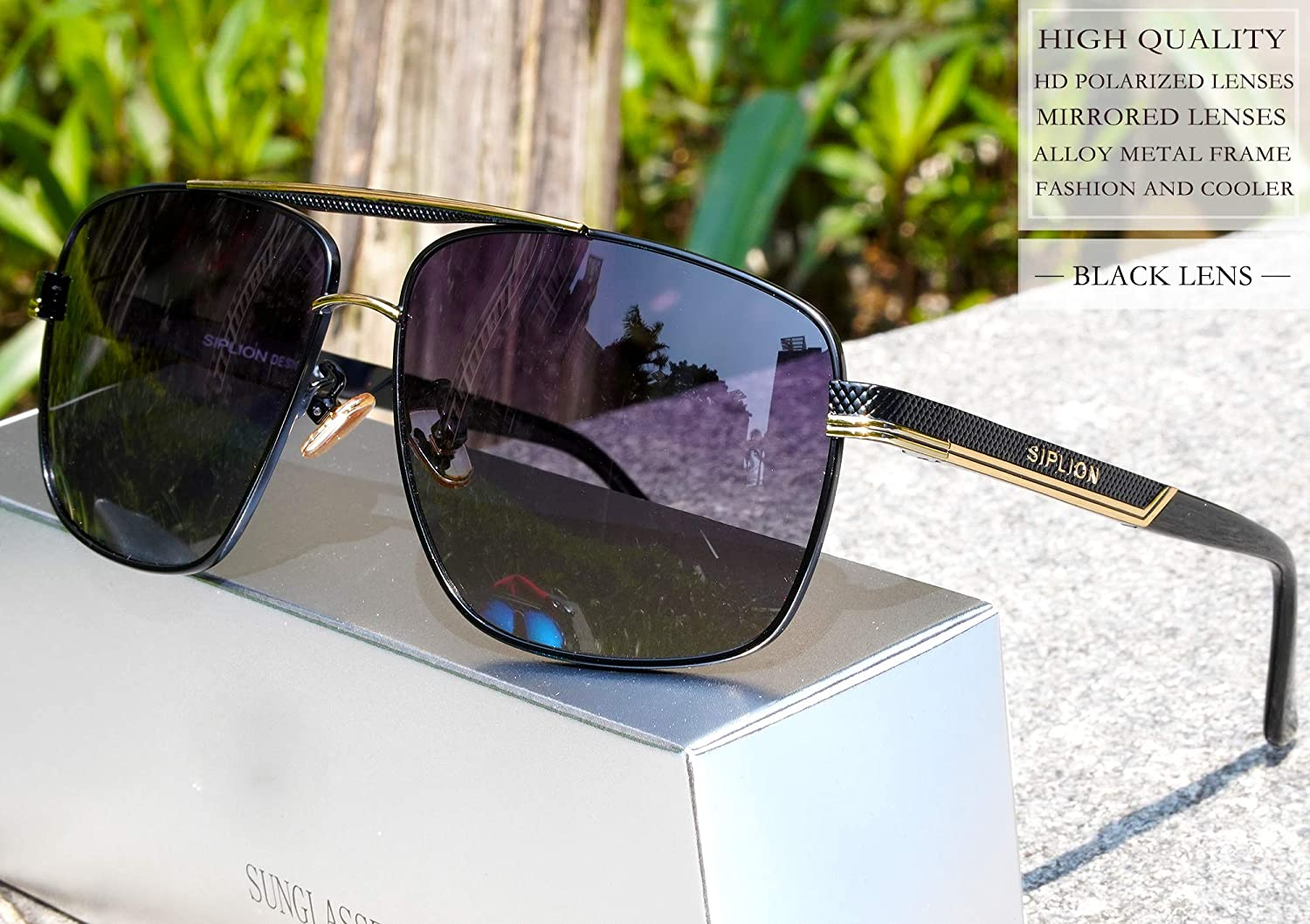 9c25566f595 Amazon.com  SIPLION Men s Driving Polarized Rectangular Square Sunglasses  Metal Frame 1823 Black  Clothing