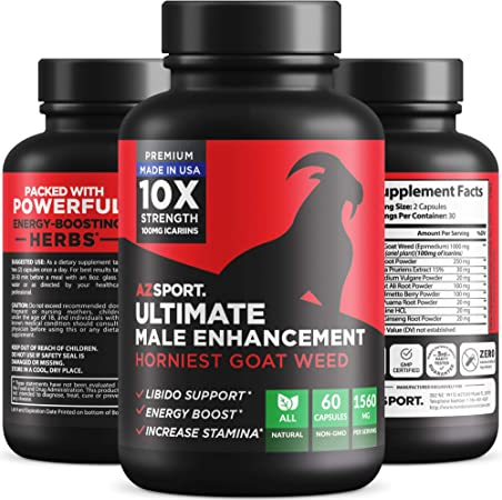 AZS Premium Male Enhancing Pills [10X Strength] - Increase Drive, Stamina & Endurance - Fast Acting & Natural Horny Goat Weed Supplement with 100mg Icariins