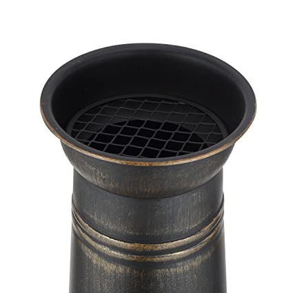 Mari Garden Granada - Chimenea de hierro fundido, 93 cm, brasero, calefactor para el jardín con parrilla de barbacoa y cubierta para la lluvia, chimenea, ...