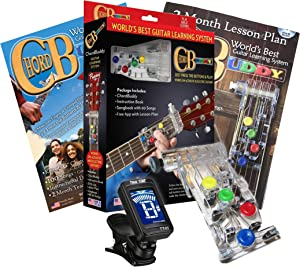 CLASSICAL Guitar Chord Buddy Learning System w/True Tune Clip-on Chromatic Tuner for Nylon-String, Wide-Neck Classic Guitars