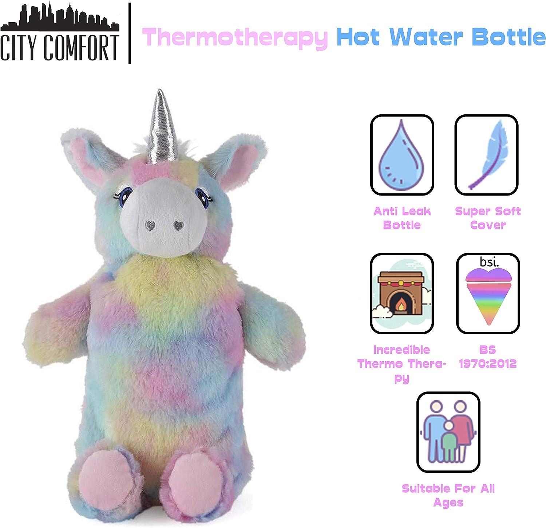 W/ärmflasche Tier Babyw/ärmflasche mit Bezug W/ärmflaschenbezug Flauschig Hund Einhorn Fashy Bettflasche 750 ml Einhorn