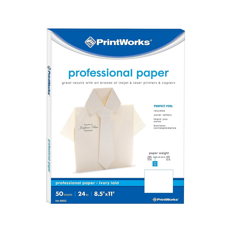 Printworks Professional履歴書のひな形ペーパー&ビジネス、文字、24 lbアイボリーLaid、レーザー/インクジェット、8.5 X 11インチ、50シート( 00553 ) B075RJKVNV