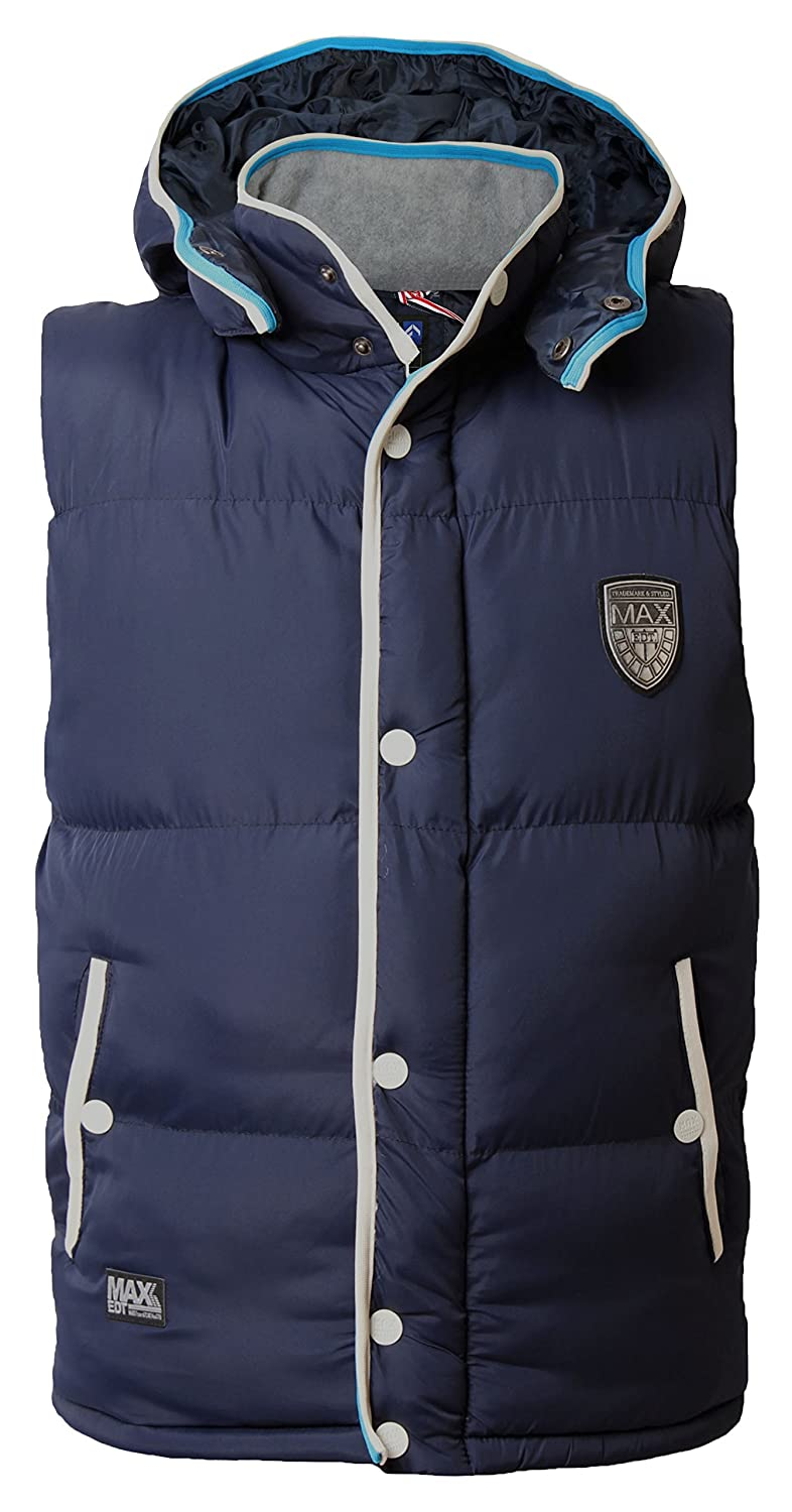 Max Edition Mens Gilet Bodywarmer Hoodie Padded Quilted Sleeveless Jacket Coat