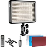 Neewer Photo Studio LED 308C with 308 Pieces LED High Power Dimmable 3300K- 5600K Video Light, Remote Control, Soft Blue Red Filters for Canon Nikon Pentax Sony Samsung Olympus DSLRs, Camcorders