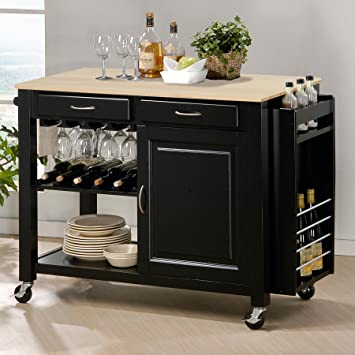 Baxton Studio Phoenix Modern Kitchen Island With Wooden Top, Black