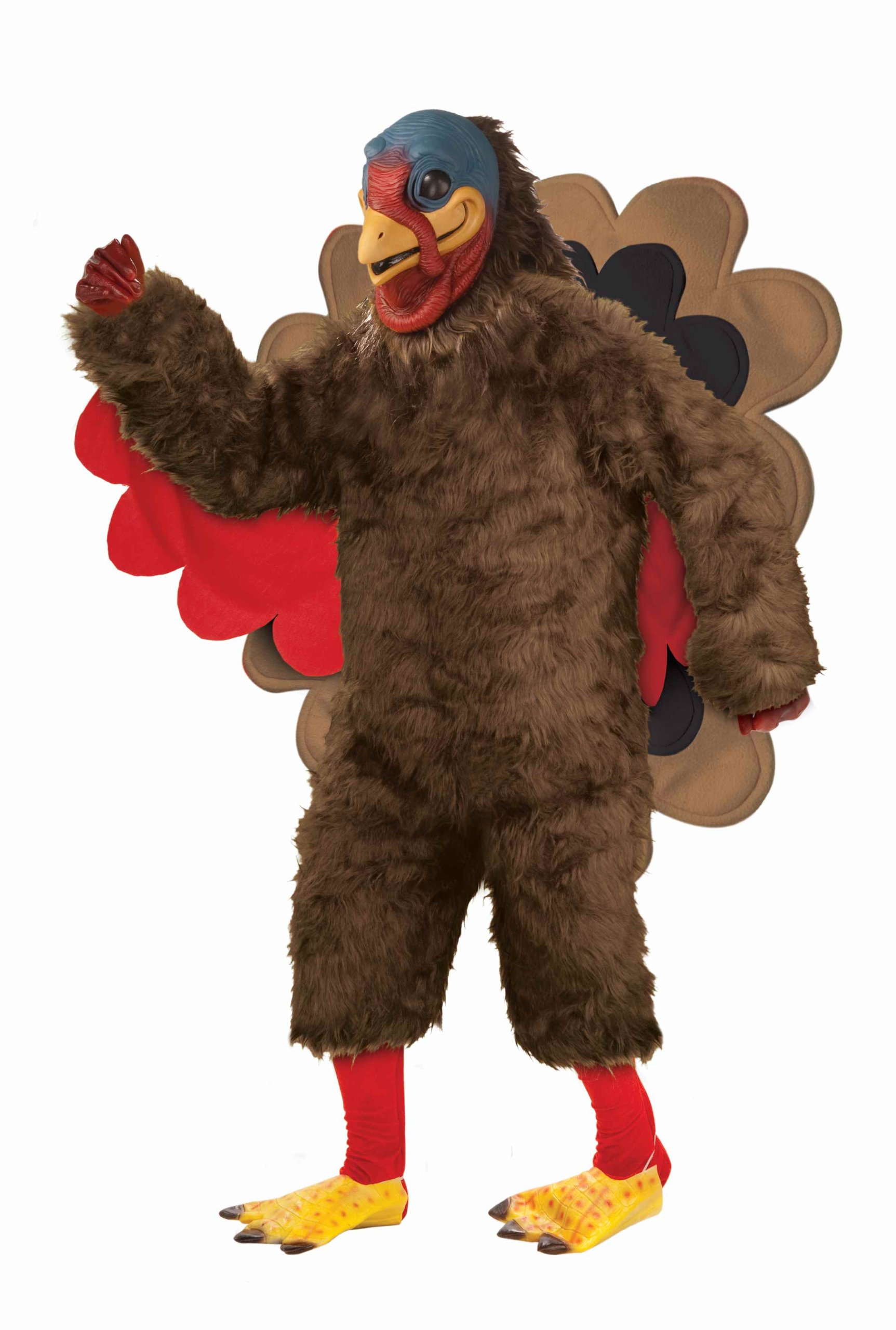 Forum Novelties Men's Deluxe Plush Turkey Mascot Costume, Brown, Standard