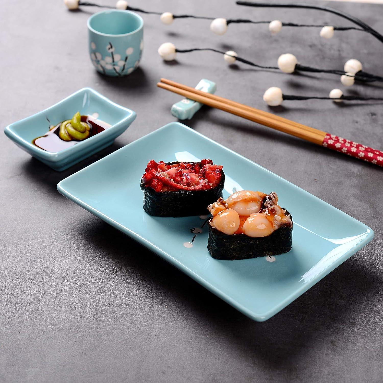 Ciotoline Salse 2 Poggiabacchette Colore Menta Verde 2 Bastoncini Panbado Set Sushi in Porcellana Regalo Giapponese Set di 2 Sushi Piatto
