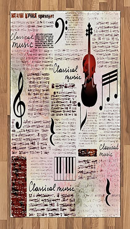 Amazon Lunarable Old Newspaper Area Rug Classical Music Theme