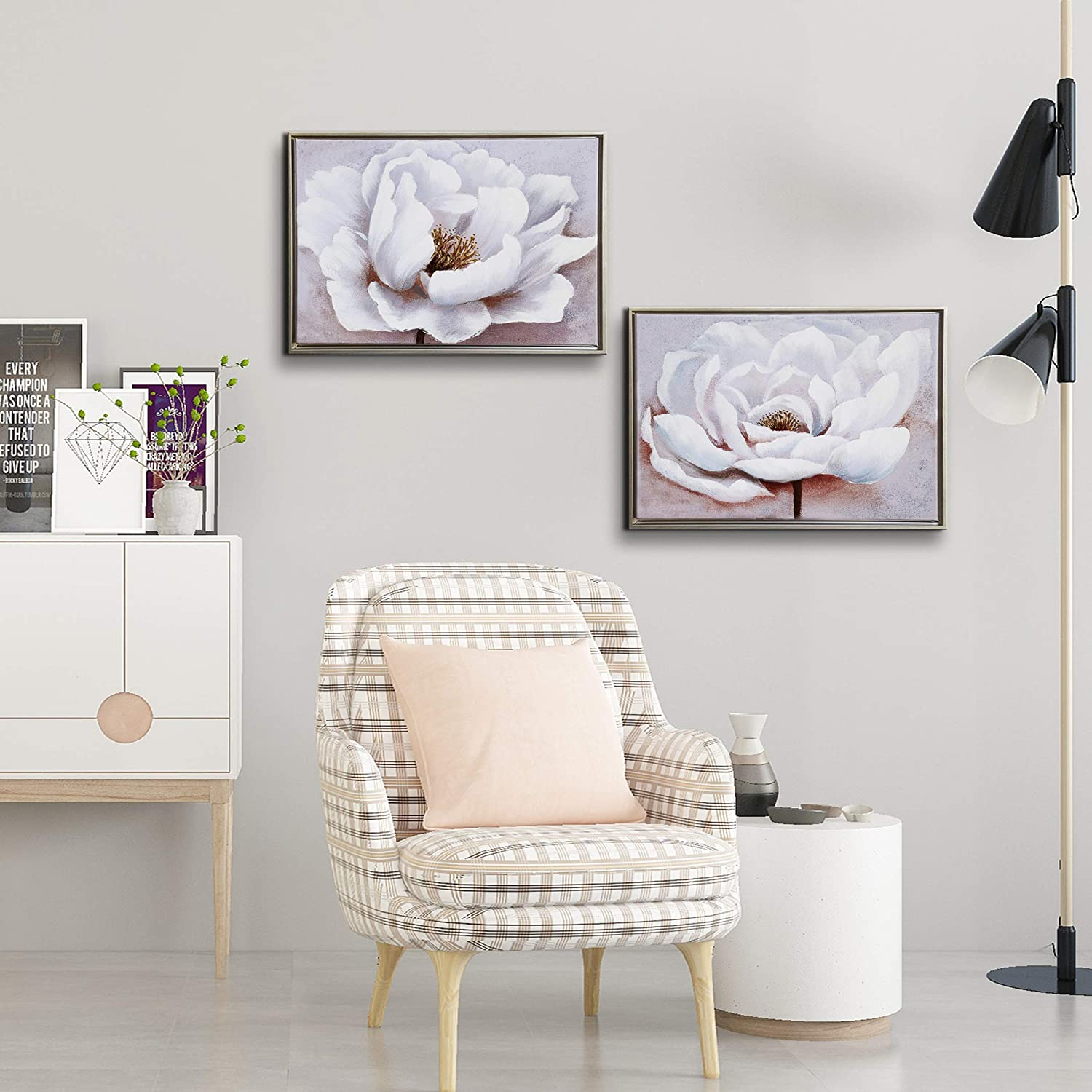 Tremendous Flower Canvas Wall Art For Living Room Modern Silver Framed Artwork Bedroom Wall Decor White And Pink Floral Painting Blooming White Flower Home Download Free Architecture Designs Itiscsunscenecom