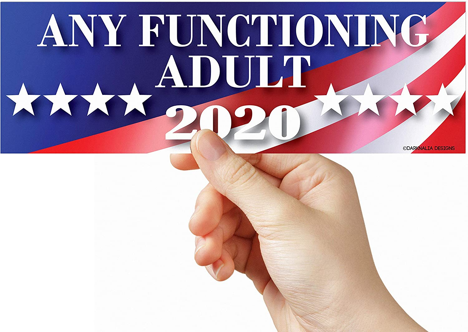 3 PACK Any Functioning Adult 2020 Funny Bumper Sticker 3 x 9 Car Truck Vinyl Decal Political Presidential Election Made In USA