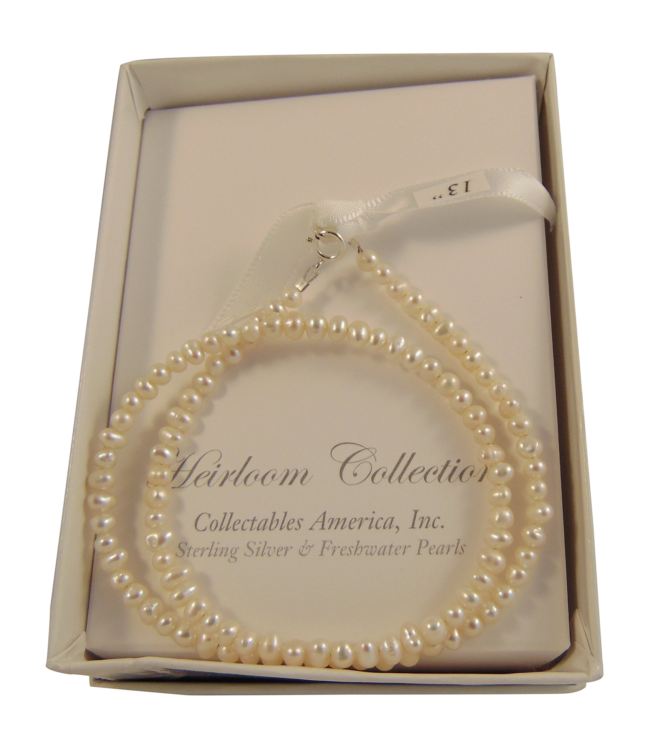 Girls Freshwater Pearls Strand with Sterling Silver Clasps in a Gift Box (13 Inches)