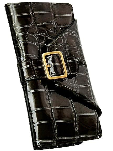 2fb8dbf73db9 [ヴィアドアン] VIA DOAN 長財布 レディース 牛革 エナメル型押し ラックスクロコシリーズ チャコールグレー