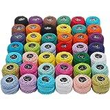 KURTZY Cotone uncinetto - 42 pezzi cotone per uncinetto - Colori arcobaleno assortiti filo per uncinetto 1818 Metri in totale - Uncinetto cotone per ricamo, lavorazione a maglia, quilting, artigianato fatto a mano