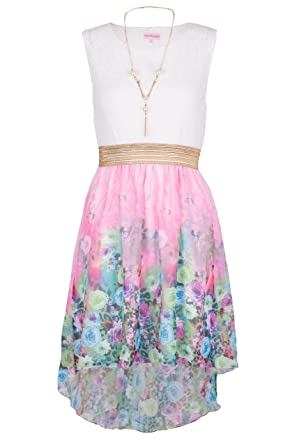 cddc01b584db4 NOROZE Girls Kids Summer Party Sleeveless Lace Top Floral High Low Dress  3-13 Years: Amazon.co.uk: Clothing