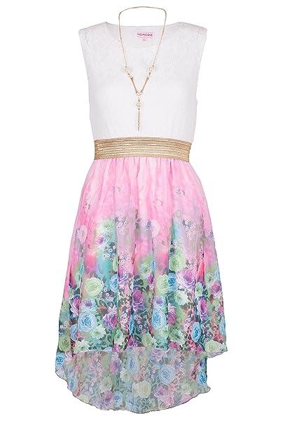 La tapa del vestido floral de la fiesta de verano de encaje sin mangas Alto Bajo