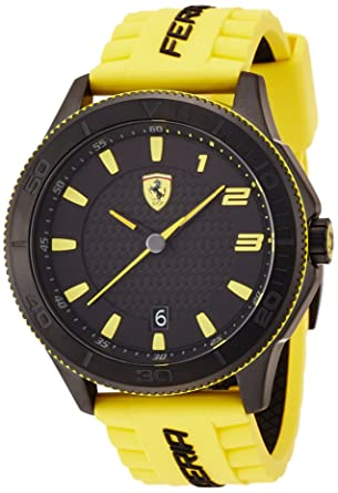 textured rubber dp watch day ferrari men with strap black yellow race s and