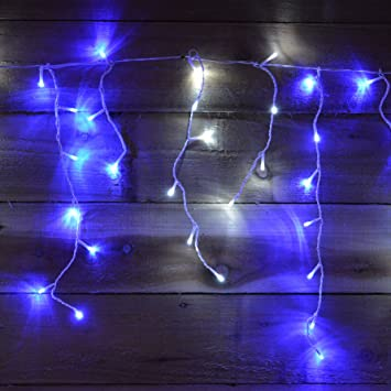 Snowtime 300 Snowfall Effect L.E.D Icicle Lights - Electric Blue and ...