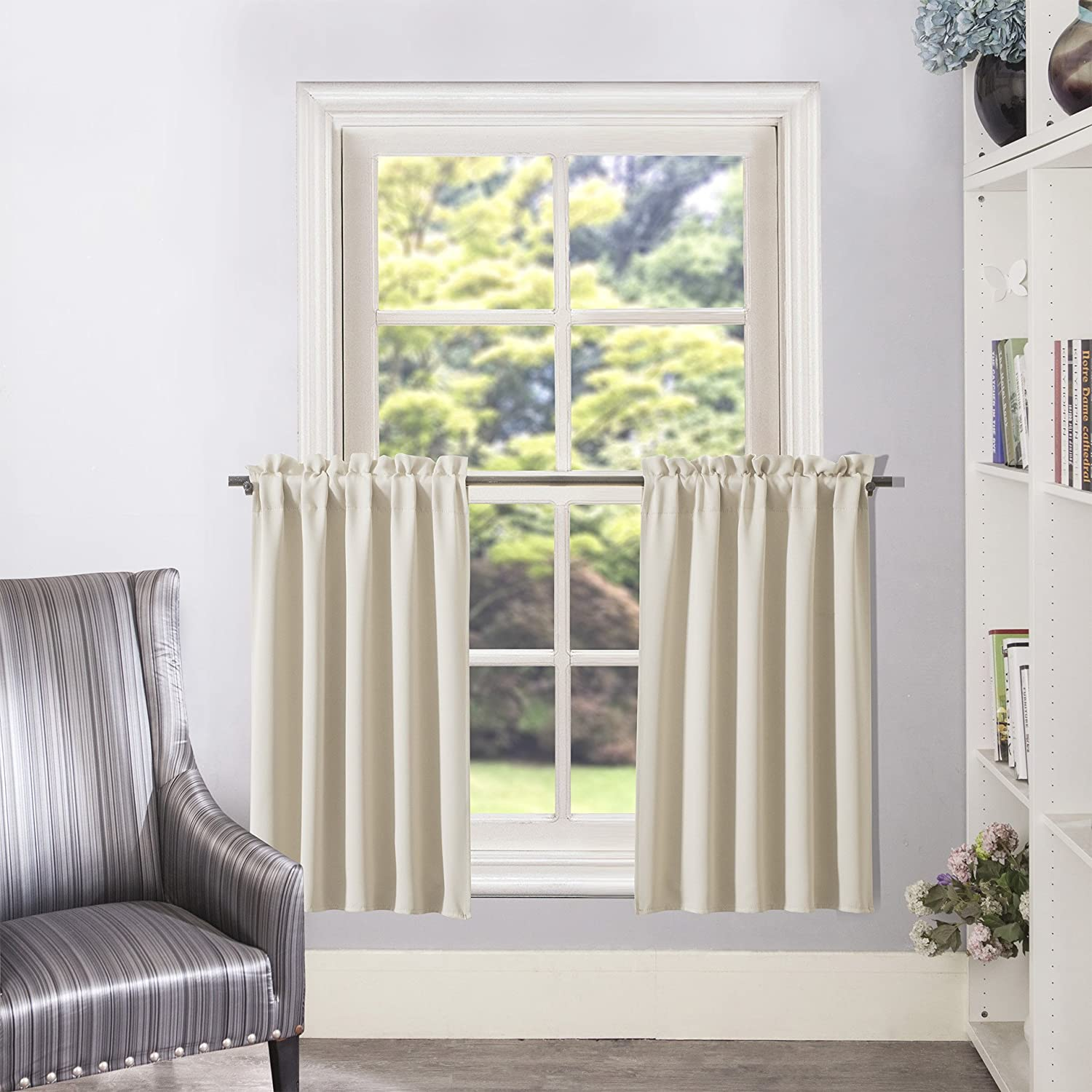 "Aquazolax Blackout Curtain Tier for Kitchen Window Blackout Curtain Panel Thermal Insulated Window Treatment for Dining Room, 1 Pair, 28"" x 36"", Beige"