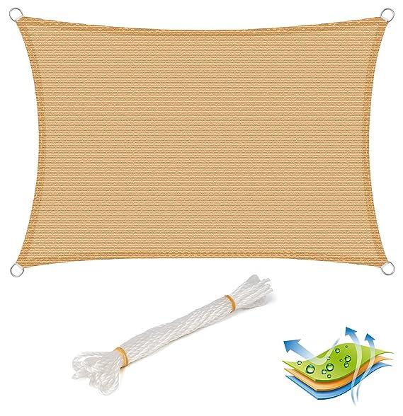 EUGAD Sonnensegel Rechteckig 4x6m Sand