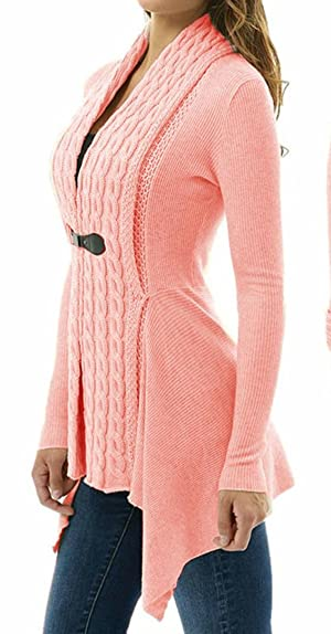 TAORE Women Long Sleeve Slim Sweater Casual Knitted Cardigan Outwear (L, Pink)