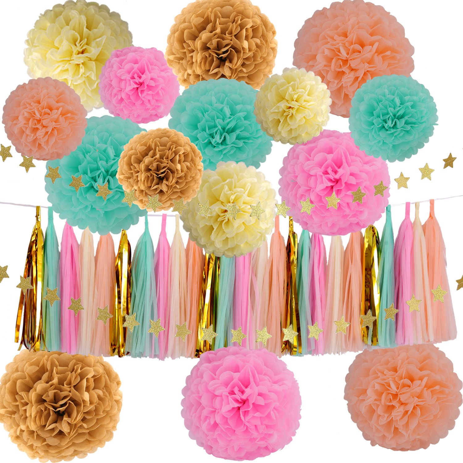Wedding Party Decorations 42 pcs Gold Mint Green Pink Peach Cream Tissue Paper Pom Poms Flowers Tissue Tassel Garland Gold Glitter Five-Pointed Star Garland Kit by KUYO
