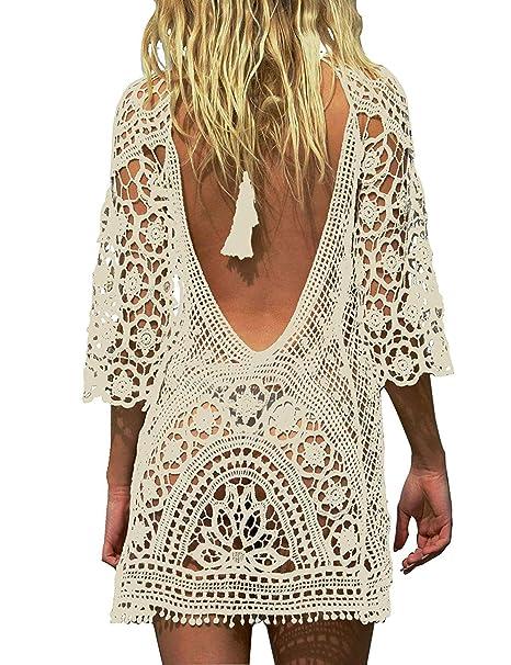 ac8a55b70874 Mujer Pareos Elegante Boho Encaje Crochet Bikini Cubrir Cover Up Blanco  Ganchillo Hueco Playa Vestido Pareos Traje De Baño