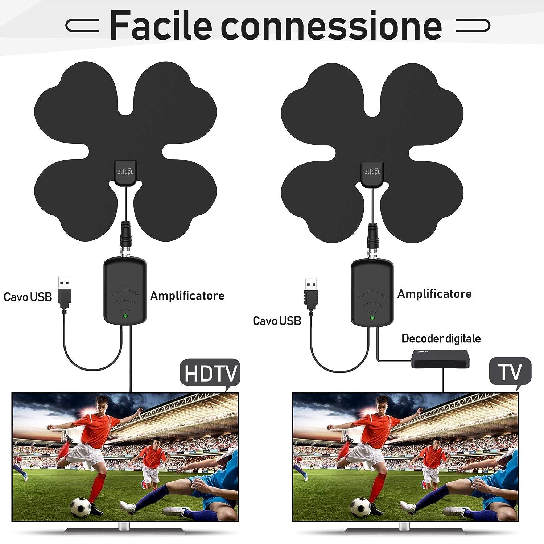 Zttopo Antenna Interna TV Fino a 110 miglia per DVB-T,DVB-T2 H.265 con Amplificatore di Segnale HDTV Antenna 4K 1080P Full HD Super Sottile 3.8m di Cavo Antenne TV