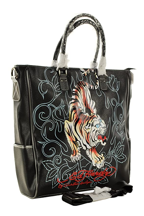 0ad7434d6f0 Amazon.com  Ed Hardy Crouching Tiger Carry-On Tote Handbag (Black)  Clothing