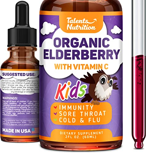 Elderberry Syrup Organic for Kids with Vitamin C – Formulated in USA – Sambucus Elderberry Treatment – Immune Defense Remedy of Black Elderberry – Liquid Elderberry Extract High in Bioflavonoids