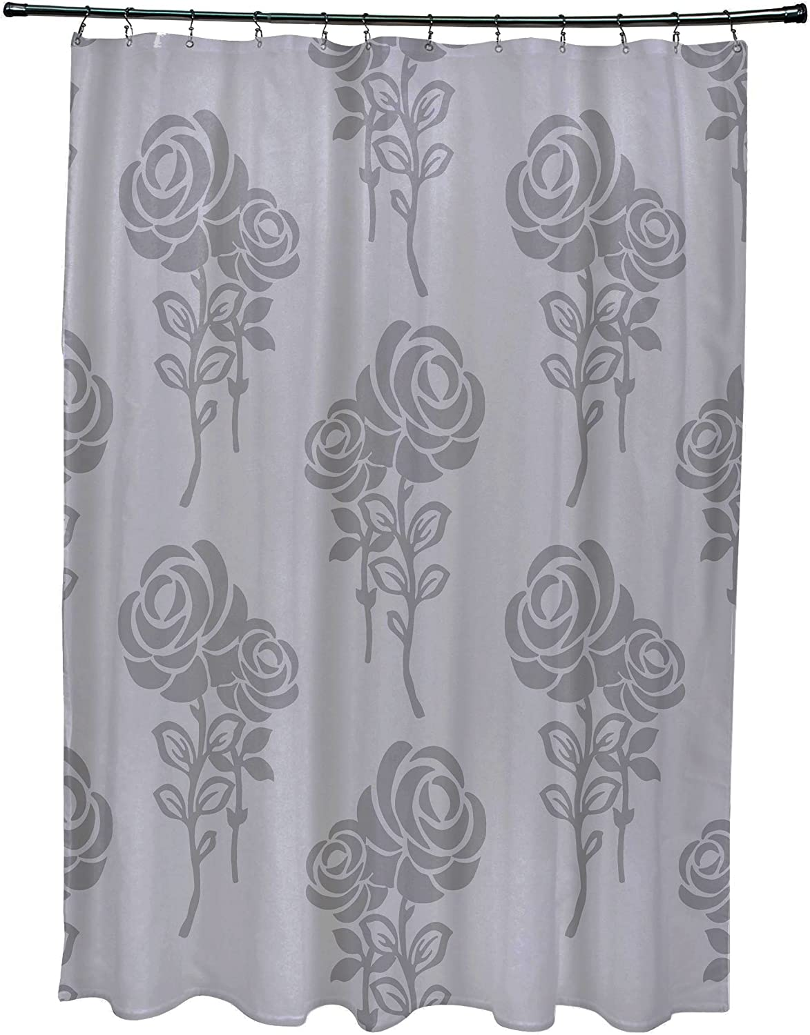 E By Design Scfn500gy1gy2 Carmen Floral Print Shower Curtain Gray Home Kitchen
