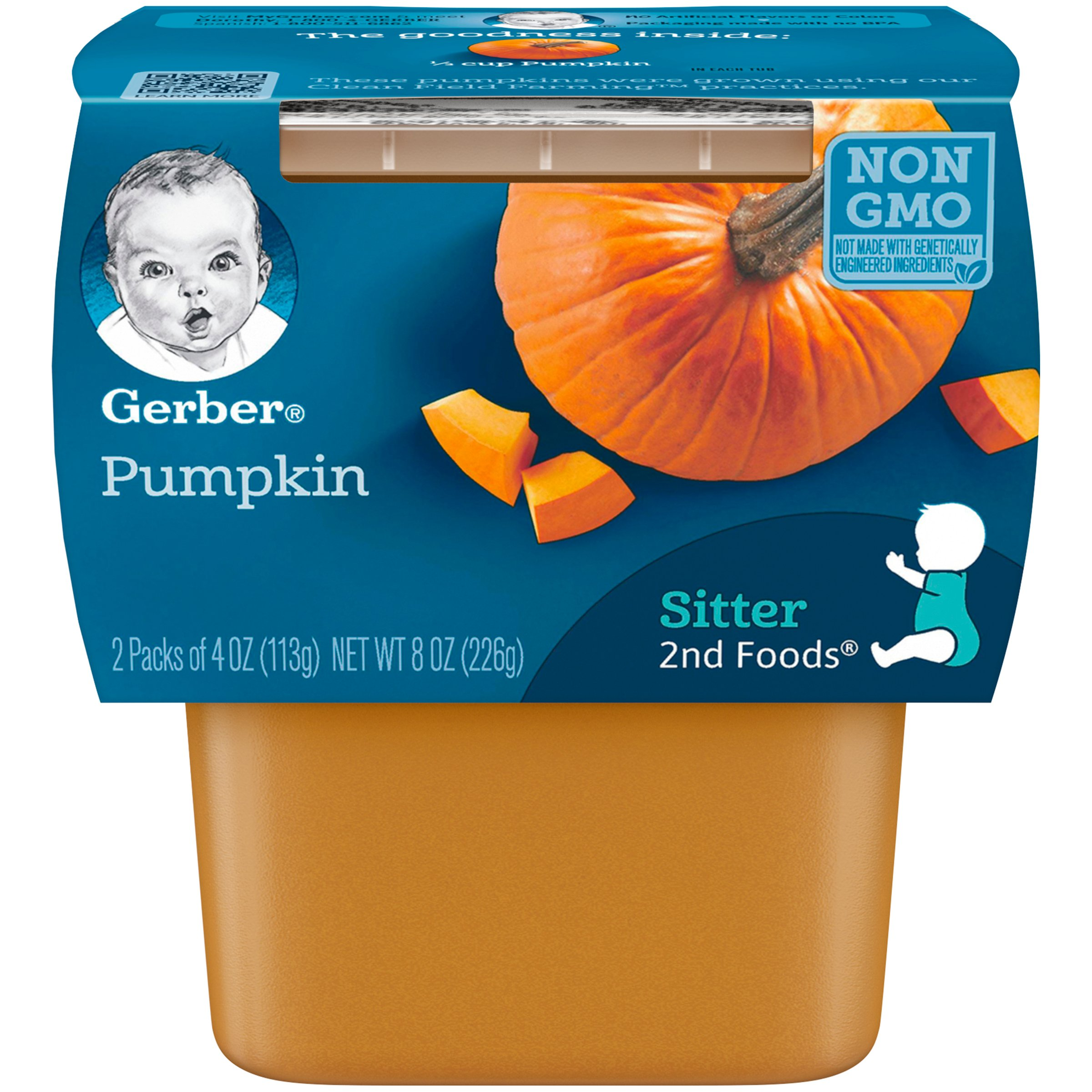 Gerber 2nd Foods Pumpkin, 2 Count per pack, 8 Ounce, Pack of 8 by Gerber