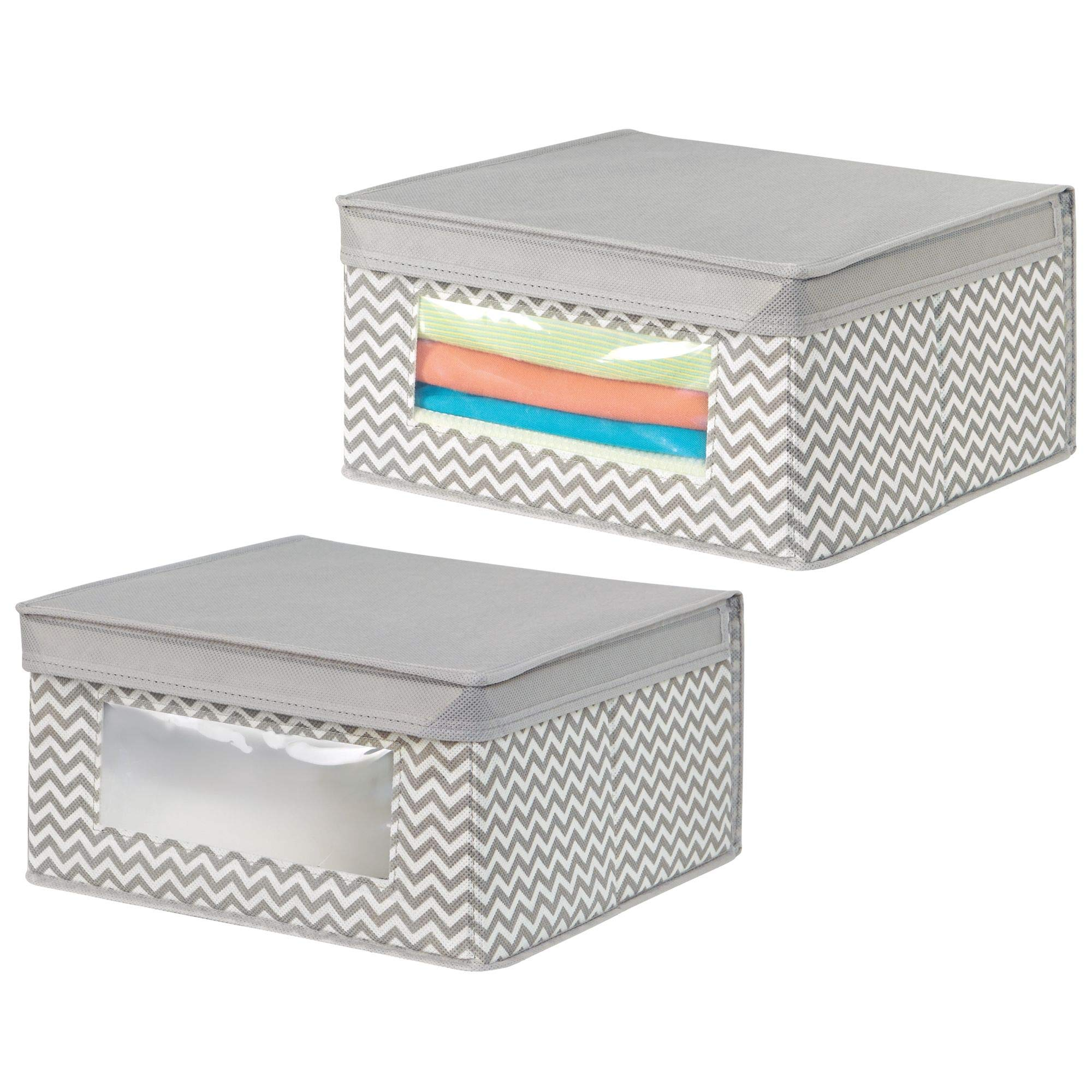 mDesign Soft Stackable Fabric Closet Storage Organizer Holder Bin with Clear Window, Attached Hinged Lid - for Bedroom, Hallway, Entryway, Bathroom - Chevron Print - Medium, 2 Pack - Taupe/Natural