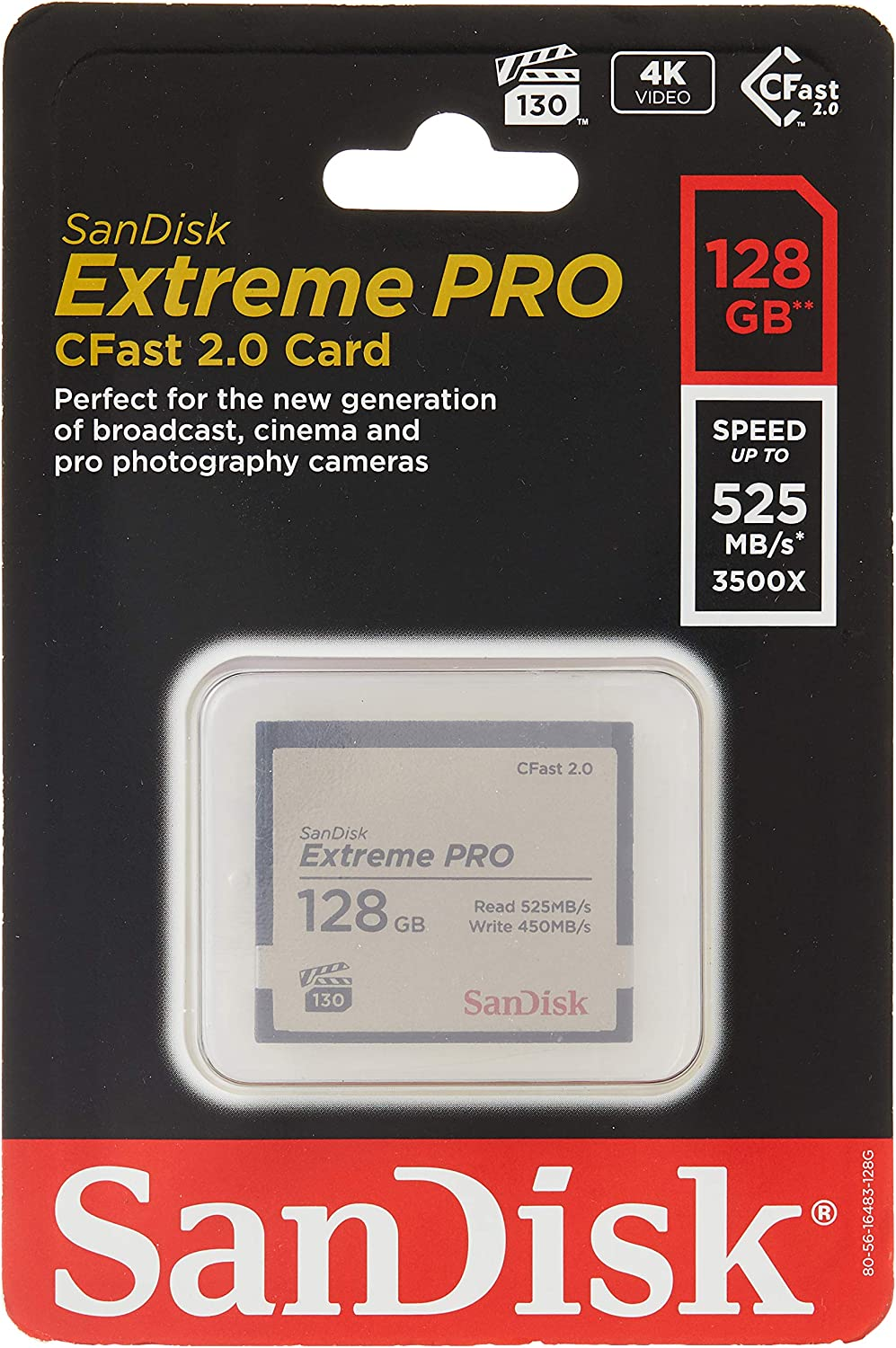 Sandisk Extreme Pro 128 Gb Cfast 2 0 Speicherkarte Bis Computer Zubehör