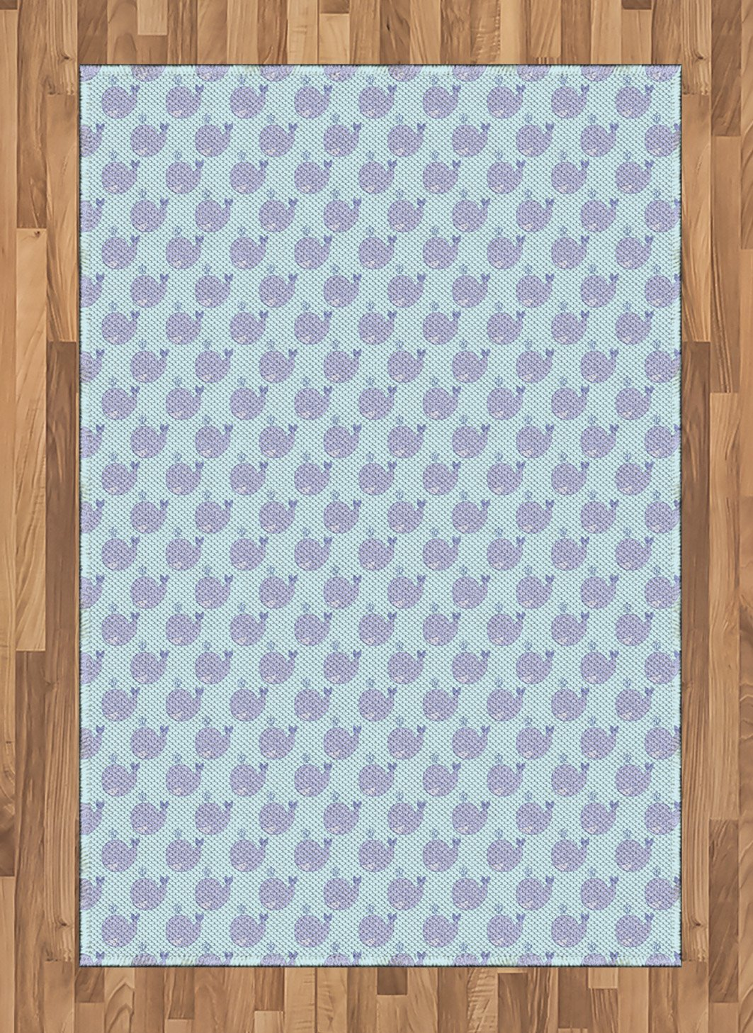 Ambesonne Whale Area Rug, Cartoon Animal with Smile and Swirled Design Inhabitants of The Deep Ocean Theme, Flat Woven Accent Rug for Living Room Bedroom Dining Room, 4 X 5.7 FT, Muave Baby Blue