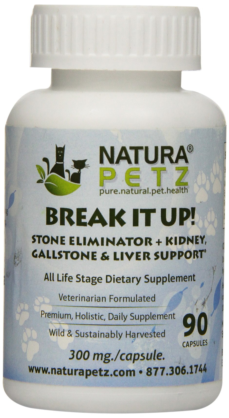 Natura Petz Break It Up! Stone Eliminator (All Types), Kidney, Gallstone and Liver Support for Pets, 90 Capsules, 300mg Per Capsule